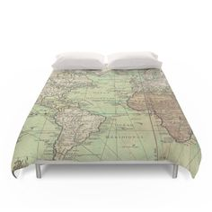 """Amazon.com - Society6 Vintage Map Of The World (1778) Duvet Covers Queen: 88"""" x 88"""" -"""
