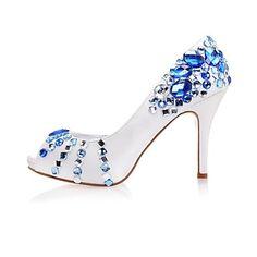 De satijnen vrouwen bruiloft naaldhak peep toe sandalen met strass schoenen – EUR € 57.74