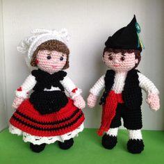 Pair of Asturian pattern amigurumi crochet by Needleandnoodle