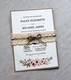 Lace Wedding Invitation Rustic Wedding by LoveofCreating on Etsy