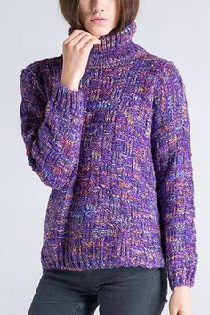Enjoy the sweater weather in warmth and style by wearing this melange cable knit cowl-neck sweater. It's loose fitting and stretchable, making this sweater the perfect layering piece to any of your clothes. This sweater is designed to be seasonless so you can wear this whenever you feel the chill.
