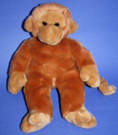 "TY Beanie Buddy 14"" Plush Bongo Monkey 1998 brown soft stuffed animal baby"