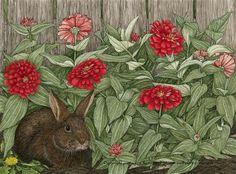 Ramona Maziarz - Rabbit in the Zinnias
