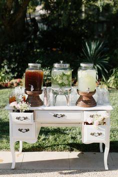 Elegant refreshments table: http://www.stylemepretty.com/california-weddings/agoura-hills/2016/10/01/romantic-dusk-backyard-wedding/ Photography: Meghan Kay Sadler - http://www.mksadler.com/