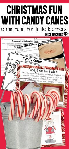 Just add candy canes!! A hands-on mini-unit for Christmas that includes science experiments, lab reports, writing activities, prompts, a craft, reading comprehension passages, teacher directions with photographs, a song and poem, and MORE! Your K-2 studen