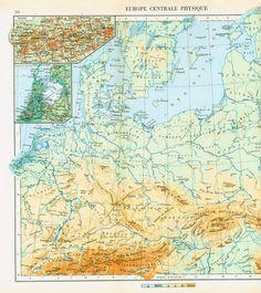 1950 Carte d'Europe Centrale Physique. Planche Originale. Ancien Atlas. Carte Geographique. Grand Format de la boutique sofrenchvintage sur Etsy