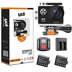 YDI 4K Camera H9R with SUNPLUS 6350 chipset and OV4689 CMOS Sensor, which is the perfect waterproof sports high-quality video camera. It shoots 4K at 25fps, 2.7K at 30fps, 1080p at 60fps and 720p at 120fps, with 12MP shooting, which is 4 times the resolution of traditional HD cameras. The supported max storage memory is 64GB ( Suggest class 10 ), and the variety of photo shooting and recording modes are Single Shot/Self-timer/Continuous Shooting/Time-lapse recording