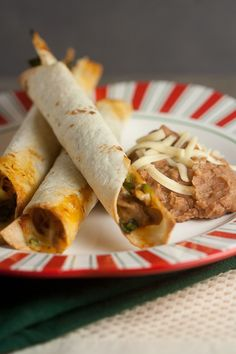 Baked Chicken and Spinach Flautas. they are decently healthy too for mexican food!