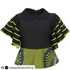 with ・・・ Top available in different colours African Print Dresses, African Print Fashion, African Fashion Dresses, African Dress, Ankara Blouse, Ankara Tops, Ankara Styles, African Blouses, African Tops
