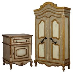Vintage Gold Armoire and Side Chest Set Painted Armoire, Painted Furniture, Furniture Sets, French Armoire, Wall Paint Colors, Bedroom Vintage, House Painting, French Vintage, Interior Decorating