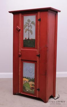 """STORE ITEM #: 27592AGE / ORIGIN:1989 / AmericaDETAILS / DESCRIPTION:High Quality Hand Painted Pine One Door Cabinet Signed C.D.M. 1989STYLE:CountryCONDITION REPORT:Clean Vintage Condition. Age Appropriate WearMEASUREMENTS:H: 59"""" x W: 32.25"""" x D: 15""""> > >*IMPORTANT*< < <$250-BASE RATE SHIPPING FOR 100 MILE RADIUS FROM 19440. OUTSIDE THE RADIUS ARE VARIABLE RATES!! Please contact us for a shipping quote BEFORE purchasing as it WILL AFFECT THE PRICE!! Above Fireplace Ideas, Cupboard, Cabinet, Folk Art, Pine, Clock, Hand Painted, Doors, Condition Report"""