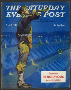 1941 WWII Saturday Evening Post Cover ~ Army Bugle Player - Artist: Ski Weld