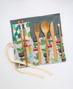Waste free Zero Waste Wrap Napkin Reusable bamboo cutlery by SaidoniaEco