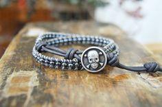 Double Wrap Leather Beaded Bracelet Metal by TrulyAmberJewelry, $28.50