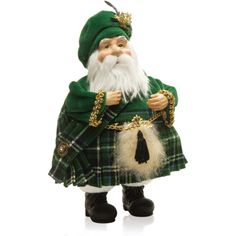 Irish Kilted Santa This roly-poly Santa is truly dashing in his green plaid outfits and will add such fun to your Christmas decor. It is tall, resin and fabric. Celtic Christmas, Tartan Christmas, Christmas Gingerbread House, Father Christmas, Vintage Christmas, Merry Christmas, Plaid Outfits, Holiday Outfits, Green Santa