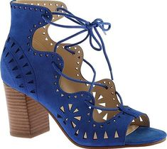 Nine West Women's Shoes in Blue Suede Color. Complete your look with the stylish Nine West Gweniah Ghillie Lace Up Sandal. This must have sandal shows off an on trend block heel and laser cut outs. Features Lace up Stacked block heel Laser cut out upper.