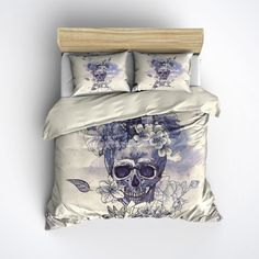 Featherweight Skull Bedding - Vintage look Skull and Flower Print Comforter Cover - Sugar Skull Duvet Cover, Sugar Skull Bedding Set