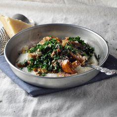 Creamy white grits, chanterelle mushrooms. Via Turntablekitchen