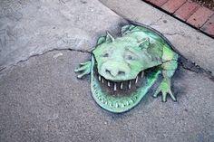 David Zinn at Starbucks Amazing Street Art, 3d Street Art, Street Art Graffiti, Street Artists, Graffiti Artists, David Zinn, Chalk Artist, Pavement Art, New York Graffiti