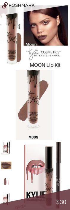 "KYLIE ""MOON"" LIP KIT KYLIE LIP KIT CONTAINS ( 1 ) MATTE LQUID LIPSTICK      .11 OZ ( 1 ) LIP LINER .03 OZ COLOR MOON more info in pics Kylie Cosmetics Makeup Lipstick"