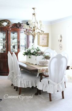 Common Ground: Dining Chairs Slip Cover Reveal  Seriously one of my favorite rooms on the web right now!