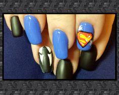 Superman and Clark Kent nail art. Matte finish for Clark Kent and high shine for Superman. Inspired by Robin Moses.