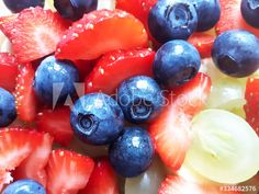 Close up fruit salad with blueberries, strawberries and grapes. Photo in my Adobe Stock portfolio Blueberries, Strawberries, Stock Portfolio, Fruit Salad, Close Up, Food Photography, Adobe, Victoria, Stock Photos