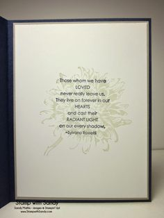 Love this verse for the inside of a sympathy card. This entire card is understated and elegant. Love the Night of Navy, Sahara Sand and Whisper White combo. Used Love and Sympathy & Blooming with Kindness stamp sets. Sympathy Verses, Sympathy Card Sayings, Sympathy Greetings, Verses For Cards, Card Sentiments, Get Well Cards, Creative Cards, Flower Cards, Making Ideas