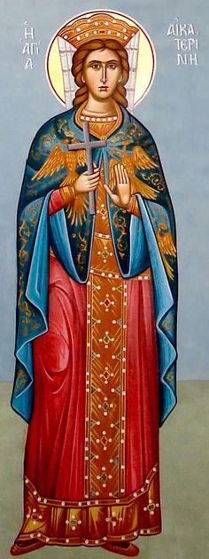 Katherine wall mural by Maria Hatjivasiliou Religious Icons, Religious Art, Religious Images, Byzantine Icons, Byzantine Art, Russian Icons, Russian Art, Saint Catherine Of Alexandria, Saint Katherine