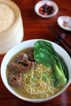 Beef Brisket Noodle Soup is a Chinese dish of slowly braised savoury sweet beef served over thin noodles in a hot rich beef bone broth Asian Recipes, Beef Recipes, Cooking Recipes, Ethnic Recipes, Asian Desserts, Filipino Soup Recipes, Game Recipes, Filipino Food, Beef Noodle Soup