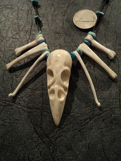 """Carved deer antler Necklace """"Skull crow""""-celtic culture-Scandinavian jewelery- turquoise-viking reenactment -paganism-Gothic necklace"""