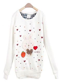 White Rabbit Round Neck Long-sleeved Sweatshirt$36.00