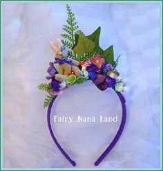 Woodland Fairy Party - Fairy Princess Headband - tiny bunny - toadstools - flowers and ferns.