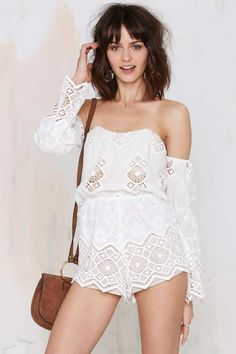 Stone Cold Fox Aden Lace Romper - White - Rompers + Jumpsuits | Off The Shoulder