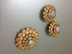 Judith Leiber Gold and Diamond Flower Earrings by OserFamilyJewels