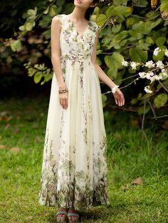 Beach Chiffon Floral A-line Sleeveless Maxi Dress Stylewe