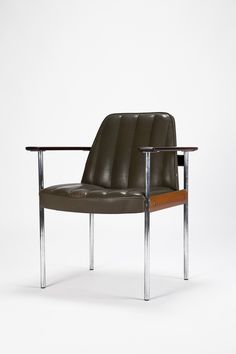 Sven Ivar Dysthe; Chromed Steel and Teak Armchair for Dokka, c1959