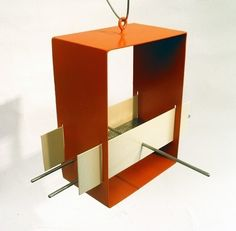 Cubist Modern Bird Feeder In Orange