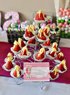 Strawberry Shortcake Cheesecake Stuffed Strawberries Dessert Tower