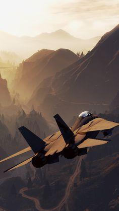 Video Game Grand Theft Auto V Grand Theft Auto Mountain Landscape Aircraft Warplane Jet Fighter Mobile Wallpaper
