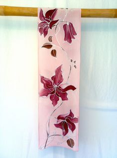 Silk Scarf Pink Hand Painted Silk Scarf Silk Painting Art