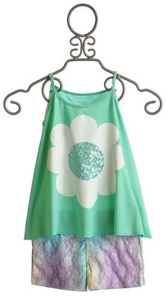 Flowers By Zoe Tween Mint Daisy with Lace Shorts Set