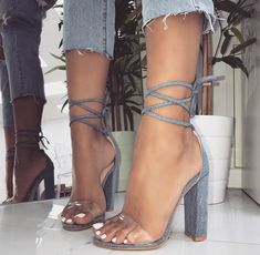 Denim Harley Clear Lace Up Block Heels: Don't miss them on Your Next Shoes! Cute High Heels, Black High Heels, Fancy Shoes, Cute Shoes, Shoe Boots, Heeled Boots, Shoes Heels, Strappy Heels, Stiletto Heels