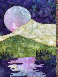 easy landscape art quilt pattern tutorial by landscapelady on Etsy Patchwork Quilting, Applique Quilts, Small Quilts, Mini Quilts, Quilting Projects, Quilting Designs, Quilting Ideas, Landscape Art Quilts, Quilt Modernen