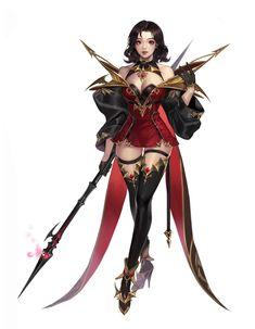Character concept_lancer dungeons & dragons in 2019 дизайн п Anime Art Fantasy, Fantasy Art Women, Dark Fantasy Art, Fantasy Girl, Female Character Concept, Fantasy Character Design, Character Design Inspiration, 3d Character, Fantasy Female Warrior