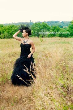Black Wedding dress bridal gown ruched tulle alternative wedding dress steampunk red carpet rocker wedding dress.