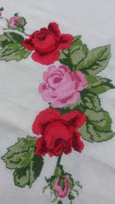 This Pin was discovered by Gül Linen Cupboard, Pretty Roses, Ribbon Work, Crewel Embroidery, Cross Stitch Flowers, Christmas Cross, Pink Roses, Needlepoint, Needlework