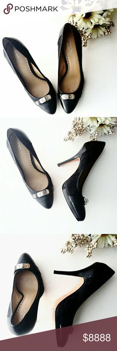 """¡Just In!  Coach Sig C Tonal Turn Lock Pumps The Coach Camille: Tone on tone Signature C body w/leather captoe and shoe back. Black wooden heel (approx 4.5"""") offset by (approx. 0.5"""") black wooden platform. Gorgeous heels sport a silver tone turnlock plate engraved w/COACH.  Beautifully EUC, w/minimal general use wear to leather soles, heel caps show no damage. I loathe that I took a few steps & walked right out of them. These need a new home.  *Ask Questions B4 U Buy* Coach Shoes Heels"""
