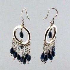 Blue Lapis Lazuli Earrings Dangle Hook Sterling Silver Jewelry | eBay