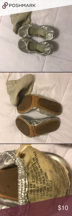 Gap fold up silver ballet flats Gap gold up silver ballet flats. Worn a few times with some small markings. Fit into small bag for easy transport. Size 8 but with the elastic - slightly smaller and tighter and likely better on a size 7 GAP Shoes Flats & Loafers